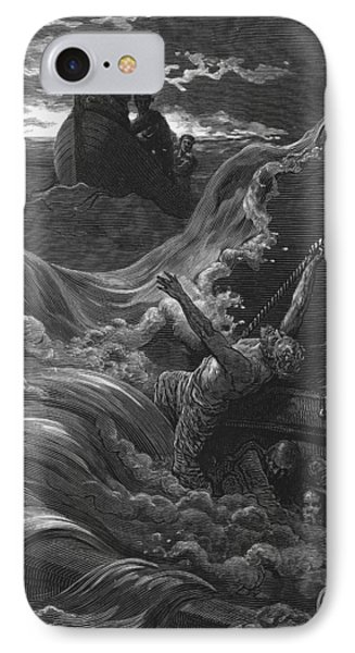 The Mariner As His Ship Is Sinking Sees The Boat With The Hermit And Pilot IPhone Case by Gustave Dore