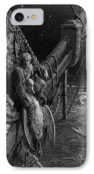 The Mariner Gazes On The Serpents In The Ocean IPhone Case by Gustave Dore