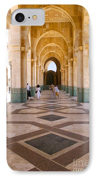 IPhone Case featuring the photograph The Massive Colonnades At The Hassan II Mosque Sour Jdid Casablanca Morocco by Ralph A  Ledergerber-Photography
