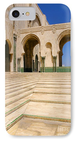 IPhone Case featuring the photograph The Massive Colonnades Leading To The Hassan II Mosque Sour Jdid Casablanca Morocco by Ralph A  Ledergerber-Photography