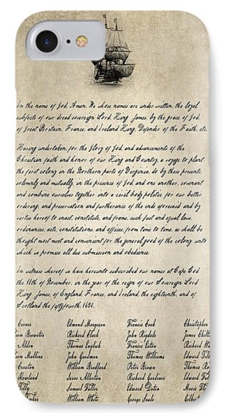 The Mayflower Compact Aged  1620 IPhone Case by Daniel Hagerman