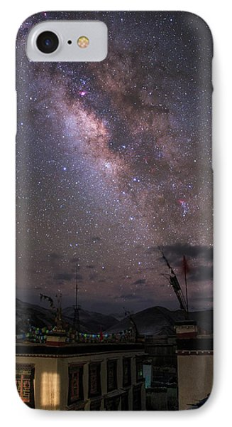 The Milky Way Over A Small Vilage IPhone Case by Jeff Dai