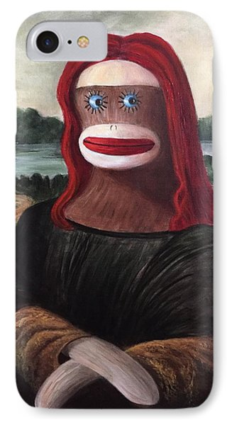 IPhone Case featuring the painting The Monkey Lisa by Randol Burns