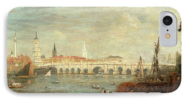 The Monument And London Bridge, London Frederick Nash IPhone Case by Litz Collection