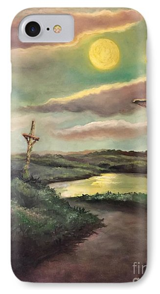 IPhone Case featuring the painting The Moon With Three Crosses by Randol Burns