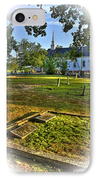 The Moss Covered Grave At Walker United Methodist Church IPhone Case by Reid Callaway