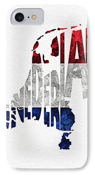 The Netherlands Typographic Map Flag IPhone Case by Ayse Deniz