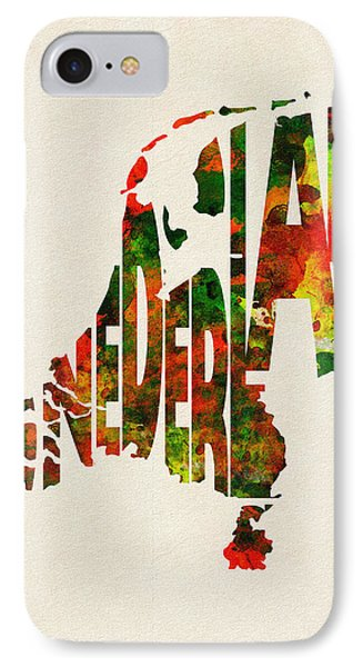 The Netherlands Typographic Watercolor Map IPhone Case by Ayse Deniz