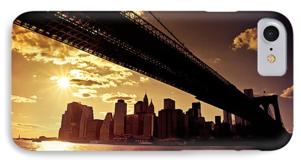 City Sunset iPhone 7 Case - The New York City Skyline - Sunset by Vivienne Gucwa