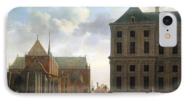 The Nieuwe Kerk And The Rear Of The Town Hall In Amsterdam  Phone Case by Isaak Ouwater