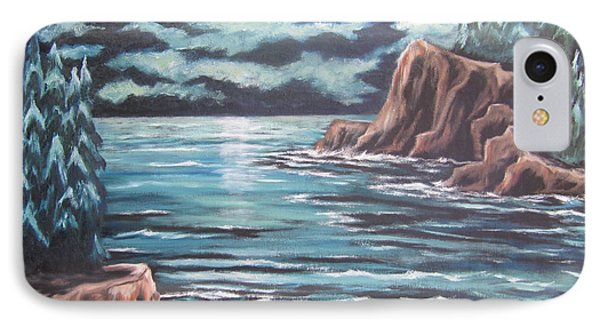 IPhone Case featuring the painting The Ocean's Quiet Beauty by Cheryl Pettigrew