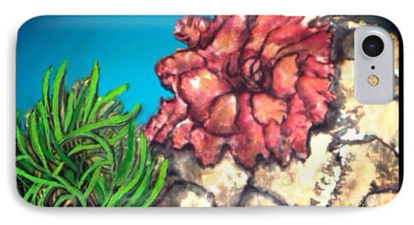 IPhone Case featuring the painting The Odd Couple Two Very Different Sea Anemones Cohabitat by Kimberlee Baxter