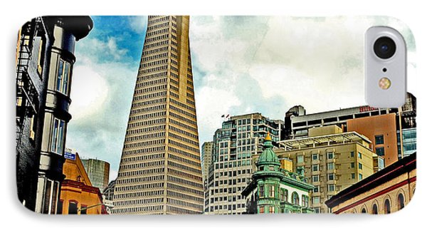 The Old And The New The Columbus Tower And The Transamerica Pyramid Altered IPhone Case by Jim Fitzpatrick