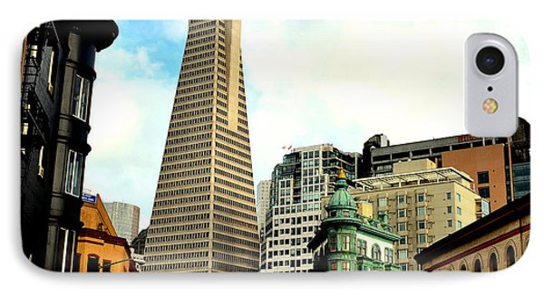 The Old And The New The Columbus Tower And The Transamerica Pyramid IPhone Case by Jim Fitzpatrick