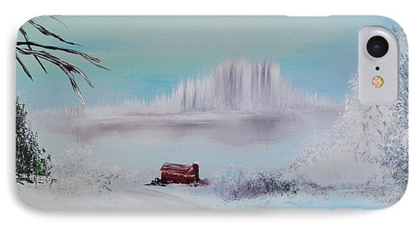 The Old Red Barn In Winter Phone Case by Alys Caviness-Gober