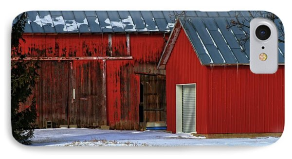 The Old Red Barn In Winter IPhone Case