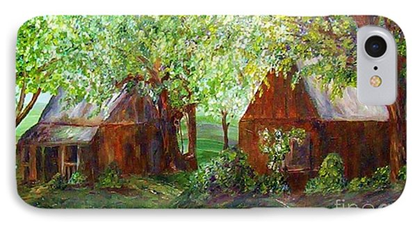 IPhone Case featuring the painting The Old Swing Between The House And The Barn by Eloise Schneider