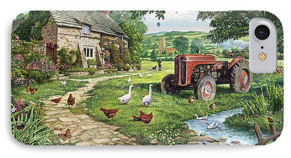 Geese iPhone 7 Case - The Old Tractor by Steve Crisp