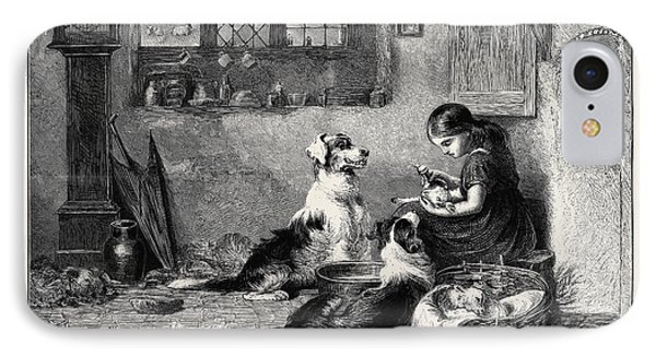 The Orphans, A Drawing In The Dudley Gallery IPhone Case by Riviere, Briton (1840-1920), English