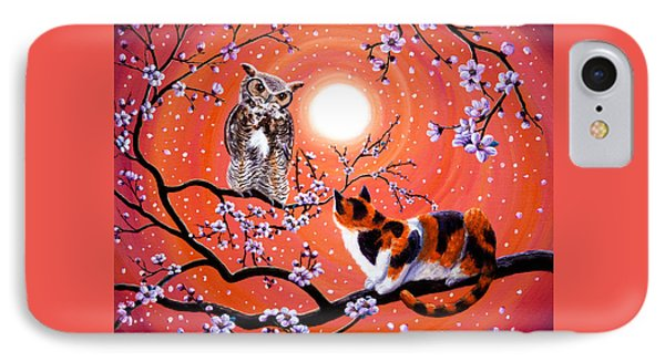 The Owl And The Pussycat In Peach Blossoms IPhone Case