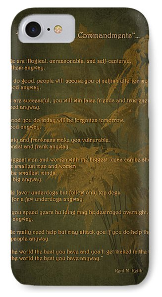 The Paradoxical Commandments IPhone Case by Maria Angelica Maira