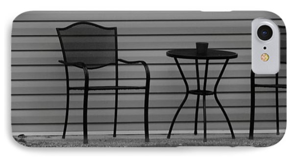 The Patio Chairs In Black And White Phone Case by Rob Hans