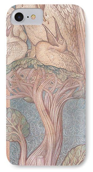The Pelican, Cartoon For Stained Glass For The William Morris Company, 1880 Coloured Chalk On Paper IPhone Case