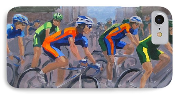 IPhone Case featuring the painting The Peloton by Karen Ilari