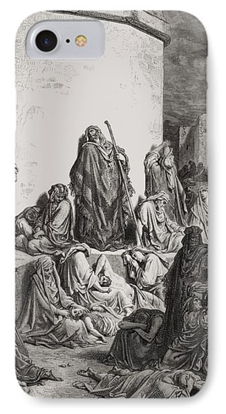 The People Mourning Over The Ruins Of Jerusalem Phone Case by Gustave Dore