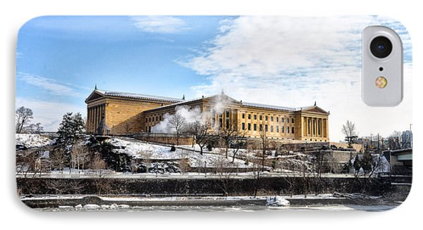 The Philadelphia Art Museum In Wintertime IPhone Case by Bill Cannon