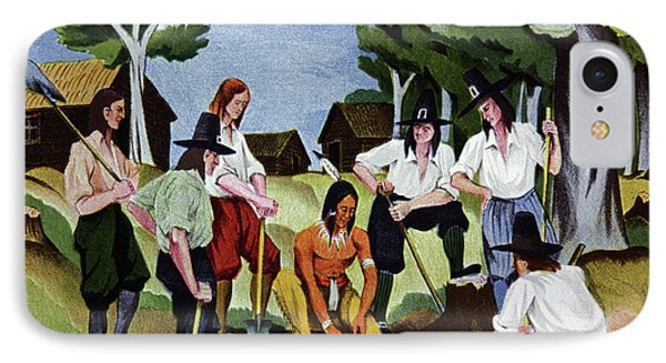 The Pilgrims Learning To Farm IPhone Case