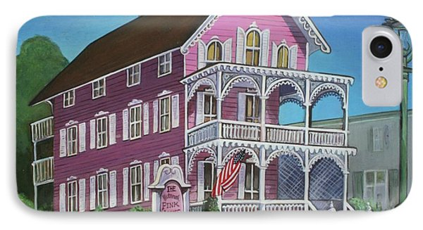 The Pink House In Cape May IPhone Case by Melinda Saminski
