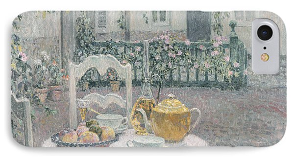 The Pink Tablecloth IPhone Case by Henri Eugene Augustin Le Sidaner
