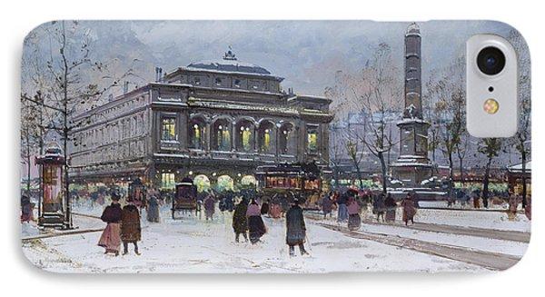 The Place Du Chatelet Paris IPhone Case by Eugene Galien-Laloue