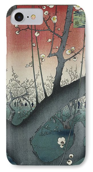 The Plum Garden At Kameido Shrine, Hiroshige IPhone Case by Quint Lox