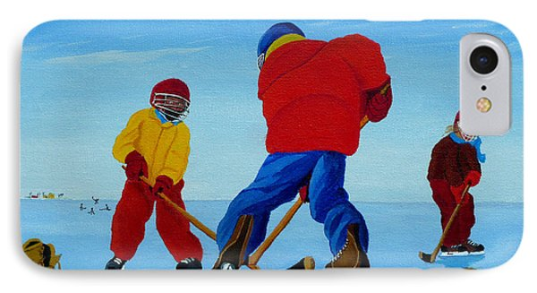 The Pond Hockey Game IPhone Case by Anthony Dunphy