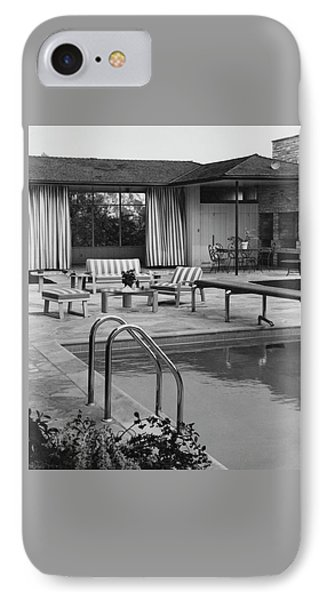 The Pool And Pavilion Of A House IPhone Case by Sharland
