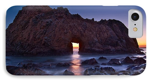 The Portal - Sunset On Arch Rock In Pfeiffer Beach Big Sur In California. IPhone Case by Jamie Pham