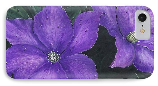 IPhone Case featuring the painting The President Clematis by Sharon Duguay