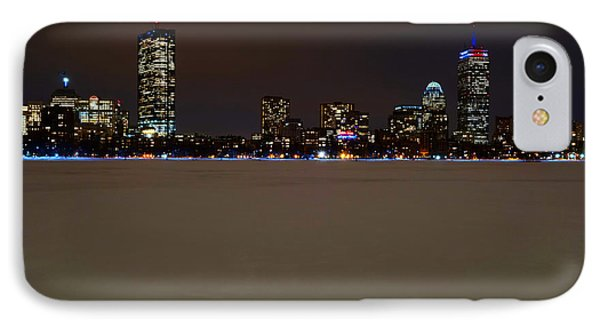 The Pru Lit Up In Red White And Blue For The Patriots IPhone Case by Toby McGuire