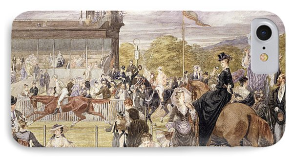 The Races At Longchamp In 1874 Phone Case by Pierre Gavarni