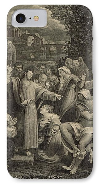 The Raising Of Lazarus 1886 Engraving IPhone Case by Antique Engravings