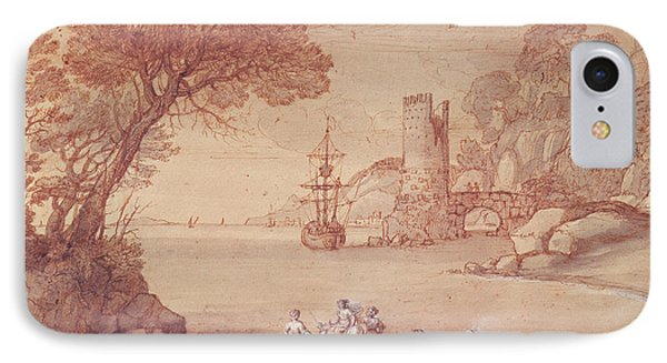 The Rape Of Europa, 1655 Pen, Ink & Wash IPhone Case by Claude Lorrain