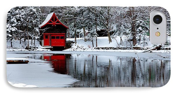The Red Boathouse In Winter IPhone Case by David Patterson
