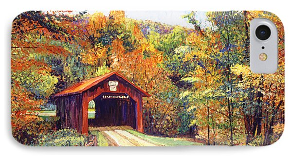 The Red Covered Bridge IPhone Case by David Lloyd Glover