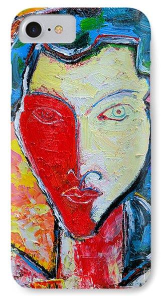 The Red Half Expressionist Girl Portrait  Phone Case by Ana Maria Edulescu