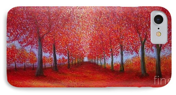 The Red Maples Alley IPhone Case by Marie-Line Vasseur