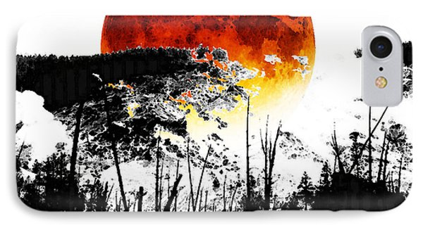 The Red Moon - Landscape Art By Sharon Cummings IPhone Case by Sharon Cummings
