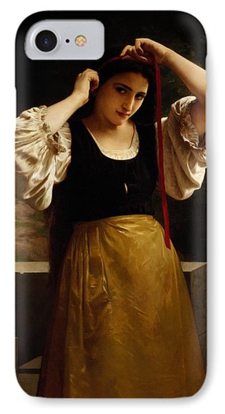 The Red Ribbon Phone Case by William Adolphe Bouguereau