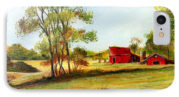 IPhone Case featuring the painting The Red Roof Farm by Dorothy Maier